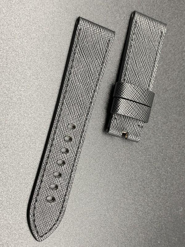 24mm strap total black saffiano handmade