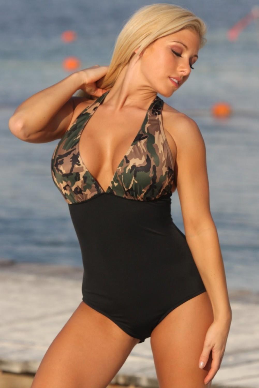 SWIMWEAR 1PC - Army Brat Halter Swimsuit