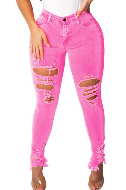 WOMEN JEANS| Ripped Jeans/frayed hemline
