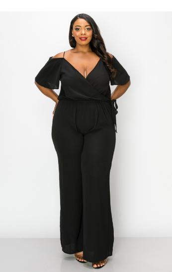 JumpSuits| Open Shoulder Surplice Jumpsuit