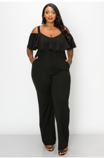 JumpSuits| SHOULDER STRAP AND RUFFLE TOP JUMPSUIT