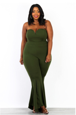 JumpSuits| Wire On Front Bell Bottom Jumpsuit