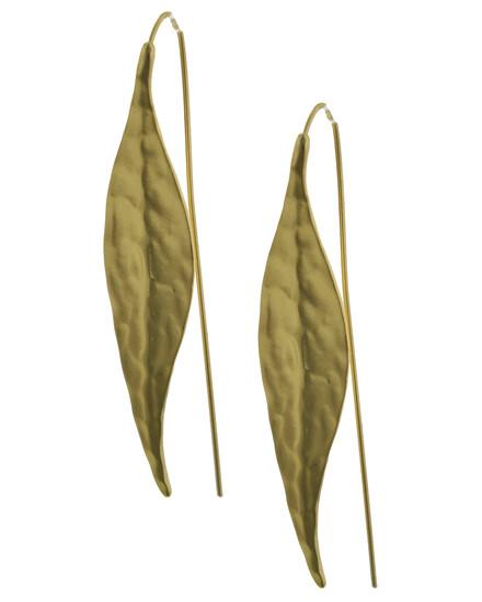 EARRINGS LONG FRENCH HOOK  Matte Gold Tone Leaf Hook Earrings