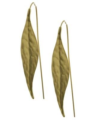 EARRINGS|LONG FRENCH HOOK| Matte Gold Tone Leaf Hook Earrings