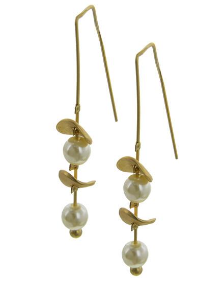 EARRINGS LONG FRENCH HOOK  Matte Gold Tone Pearl-Synthetic Earrings