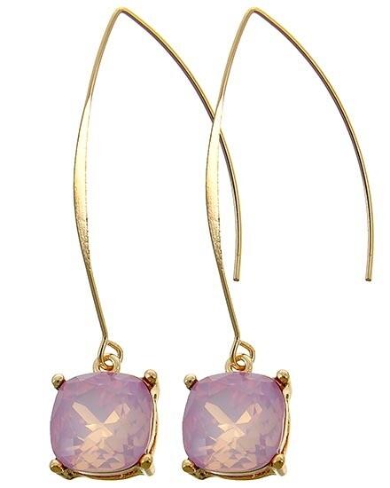 EARRINGS LONG FRENCH HOOK  Lt.pink Opal Acrylic