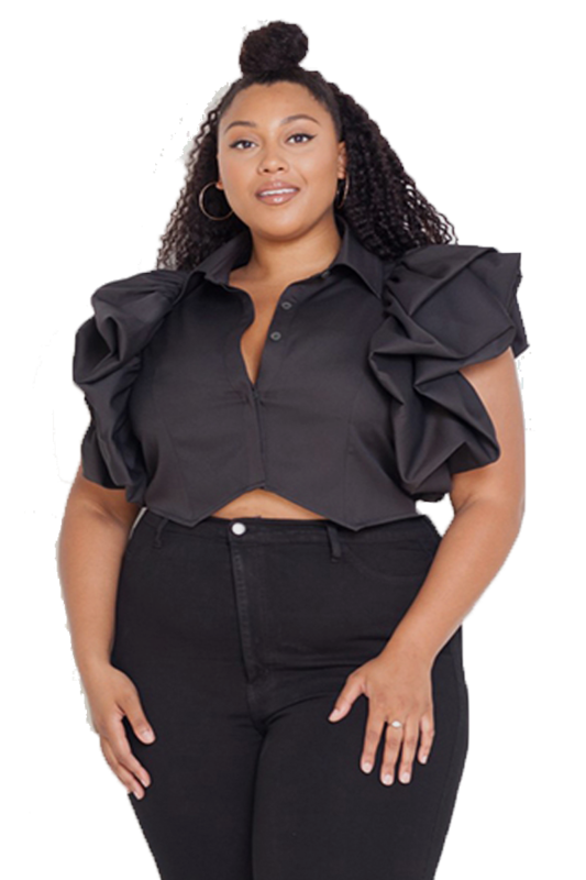 BLOUSES  Midriff ruffled blouse