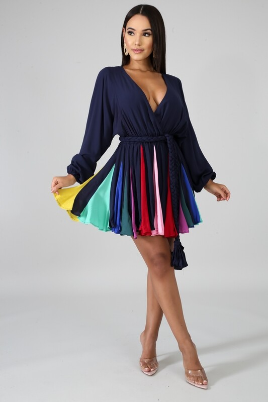 Dresses| Colorful Pleated Flare Dress