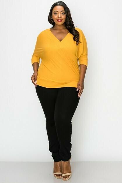 Blouses   V-Neck Pullover Rib top