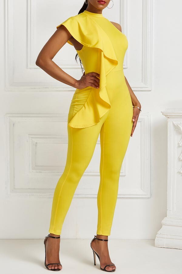 Jumpsuits| Sexy caped ruffle jumpsuit