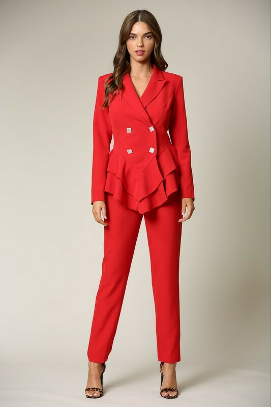 Pants sets | 2-pc-Double-Breasted-Peplum-Waist-Pant-Set