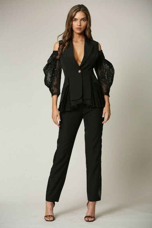 Pants sets | 2-pc-Sexy-Lace-Puffed-Sleeves-Tapered-Pant-Set