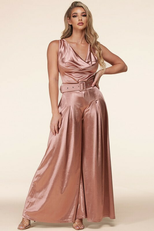 Jumpsuits   Silky Palazzo Jumpsuit