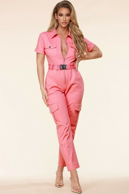 Jumpsuits | The Belted  Pink Ground Utility Jumpsuit