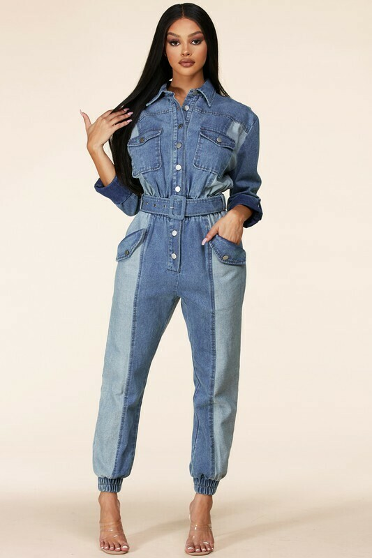 Jumpsuits | Denim 3/4 length Sleeve Jumpsuit