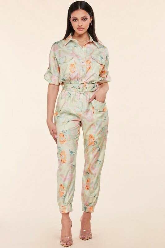 Jumpsuits   Floral Cuffed Sleeve Jumpsuit