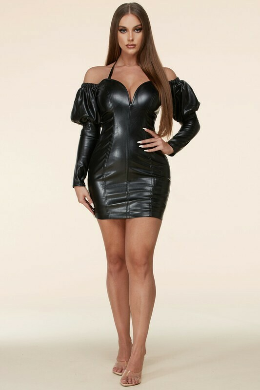 Dresses | Sultry-Black-Faux-Pleather-Dress