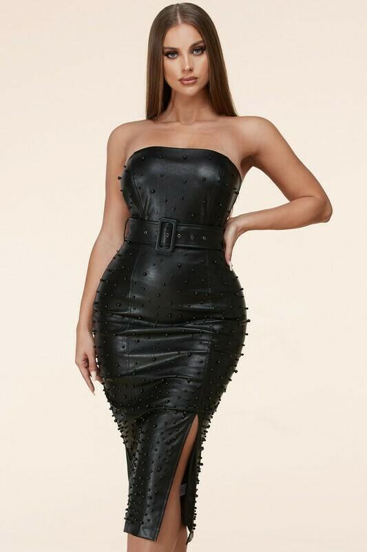 Dresses | Black-Beaded-Faux-Midi-Dress