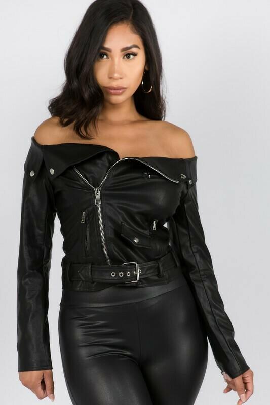Blouses   Off the shoulder Pleather jacket/Blouse