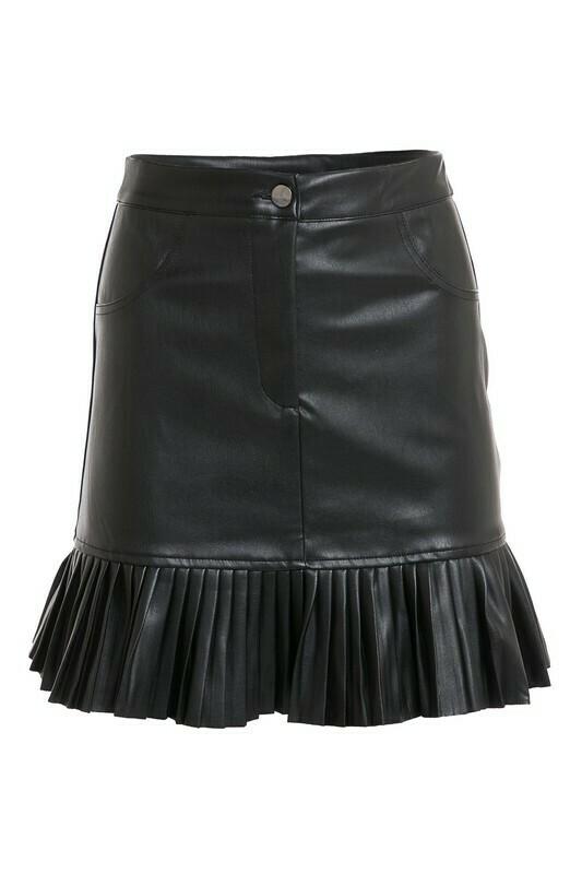Skirts | Pleather-Mini-Pleated-Hem-skirt