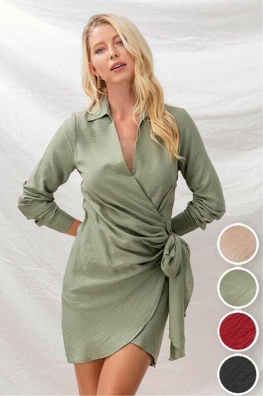 Dresses   Front-Drape-Surplice-Tie-Ribbon-Side-Dress