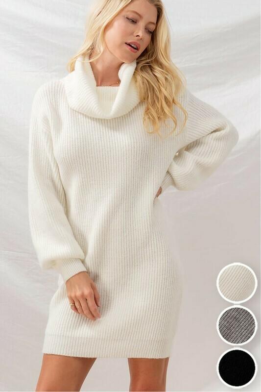 Dresses | Rib-Knit-Cowl-Neck-Puff-Sleeve-Sweater-Dress
