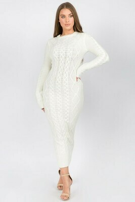 Dress | Cable-Pattern-Sweater-Dress