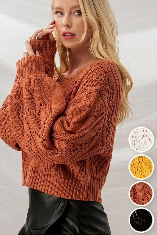 Sweaters   Cable-Knit-Balloon-Sleeve Sweater