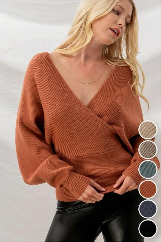 Sweaters | Rib-Knit-Dolman-Back-Cutout- Sweater
