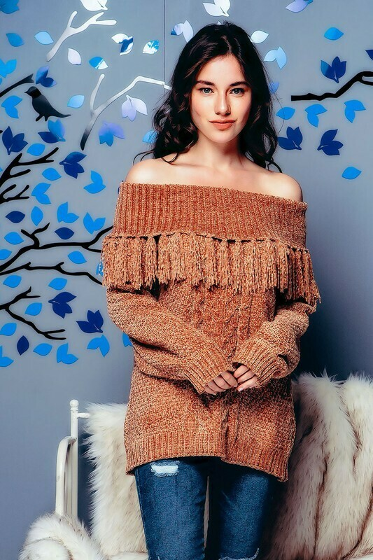 Sweaters | Chunky-Off-Shoulder-Chenille-Sweater
