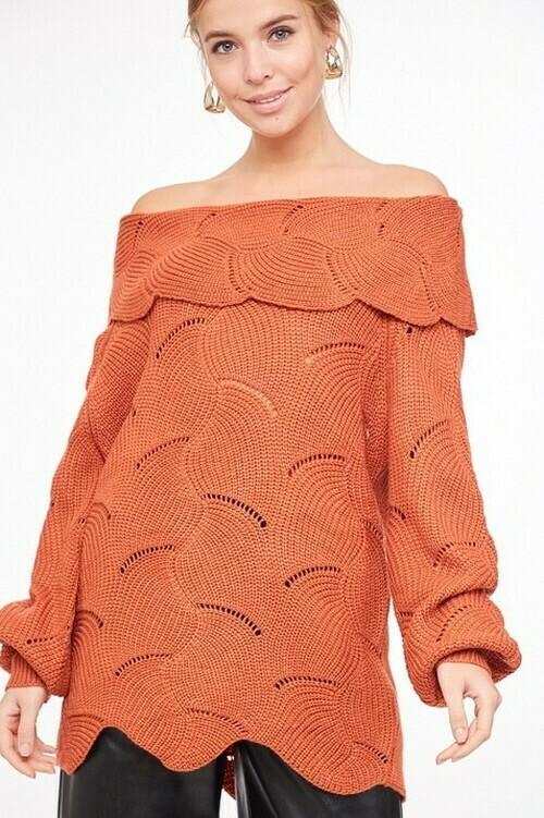 Sweaters   Swirl-Pattern-Off-The-Shoulder-Sweater