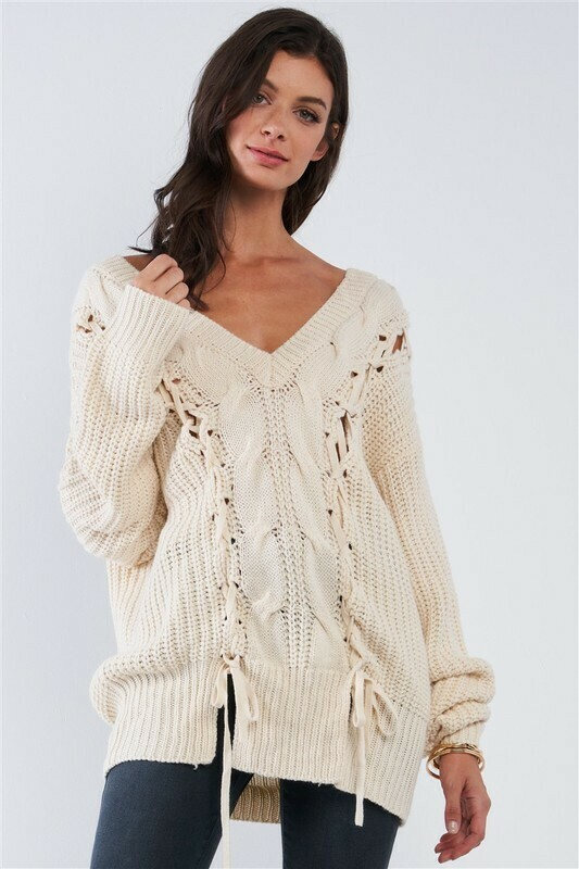 Sweaters | Sexy-Cable-Knit-Draw-String-Tie-Sweaters
