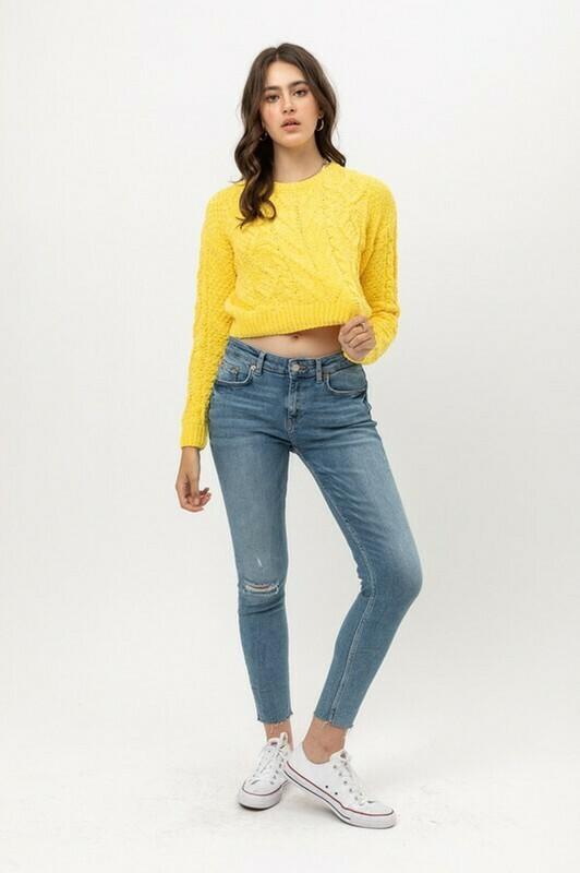 Sweaters   Velvet-Chenille -Crop-Sweater