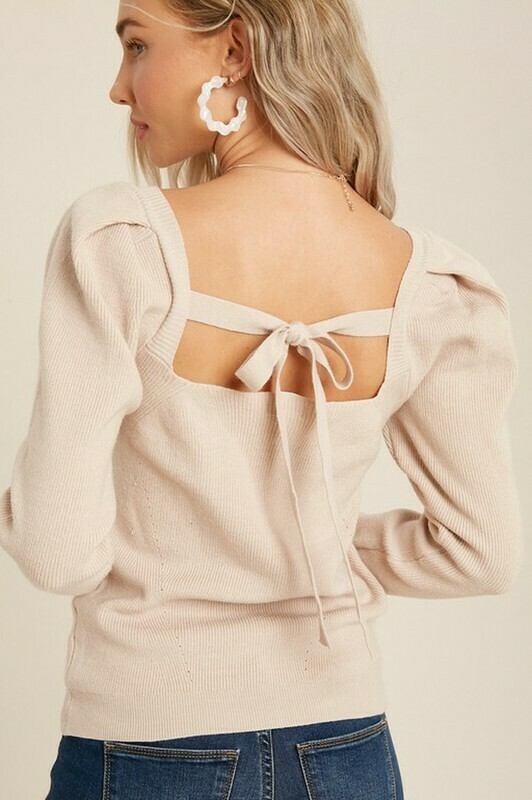 Sweaters   Square-Neck-Puff-Sleeve-Sweater