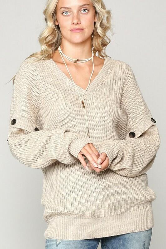 Sweaters   V-Neck-Knit-Oversize-Sweater