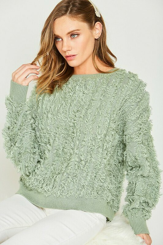Sweaters   Textured-Long-Sleeve-Sweater