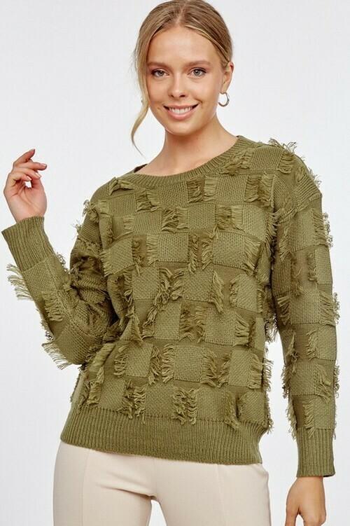 Sweaters   Checkerboard-Long-Sleeve-Sweater