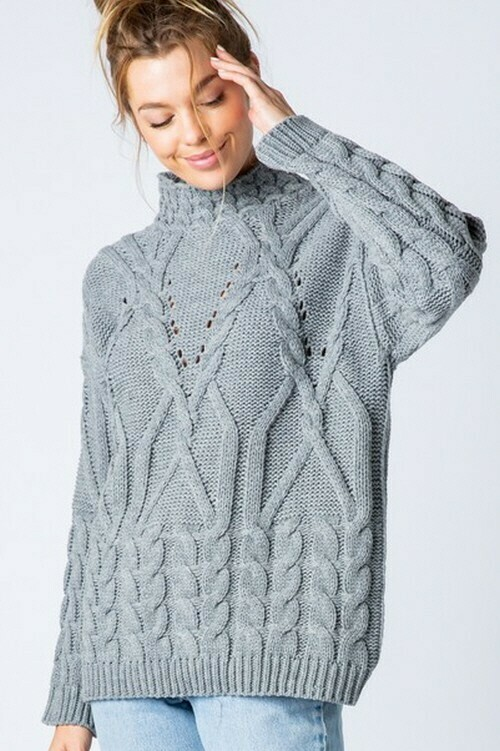 Sweaters | Mock-Neck-Long-Sleeve-Sweater