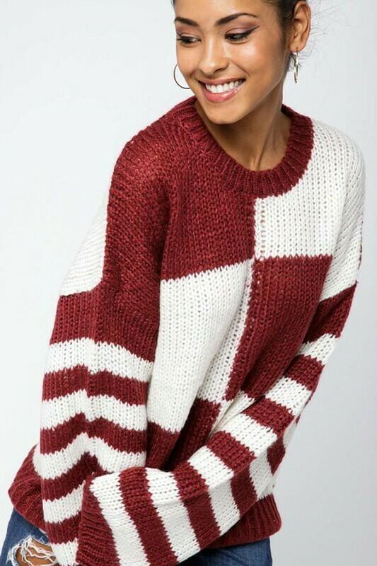 Sweaters | Oversized-Color-Block-Sweater