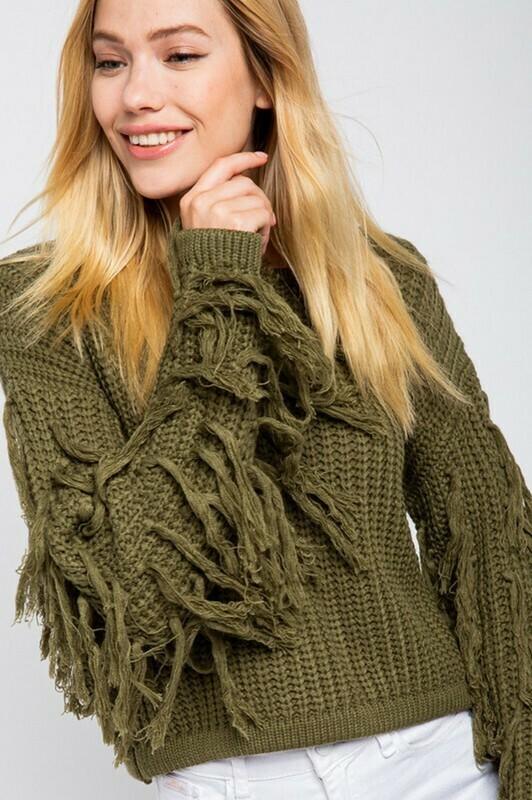 Sweaters   Fringed-Sleeve-Sweater