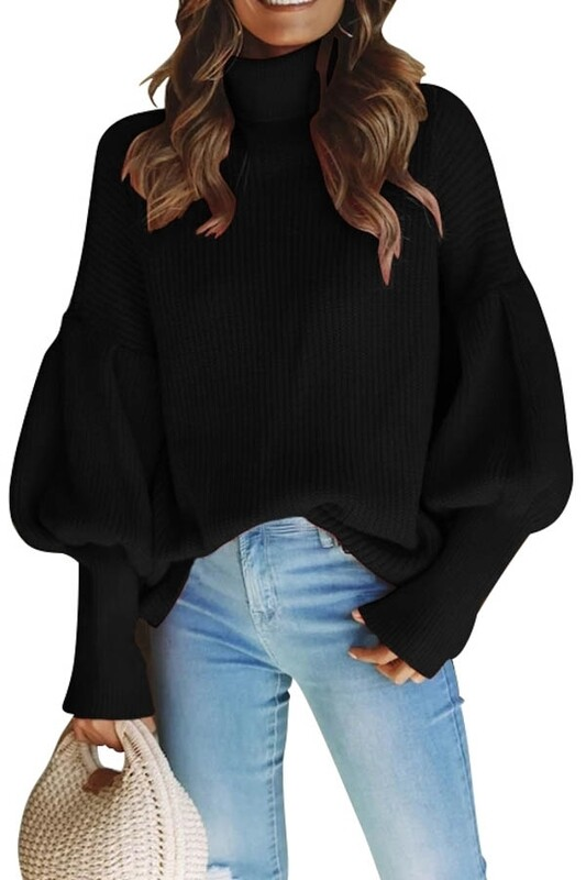 Sweaters   High-Mock-Neck-Bishop-Sleeves-Sweater