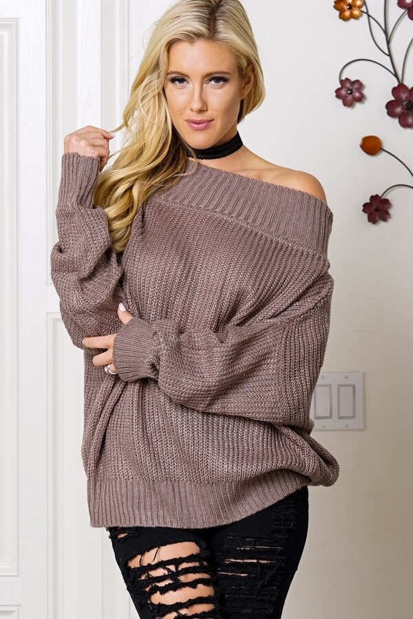 Sweaters |Off-The-Shoulder-Dropped-Sleeve-Sweater