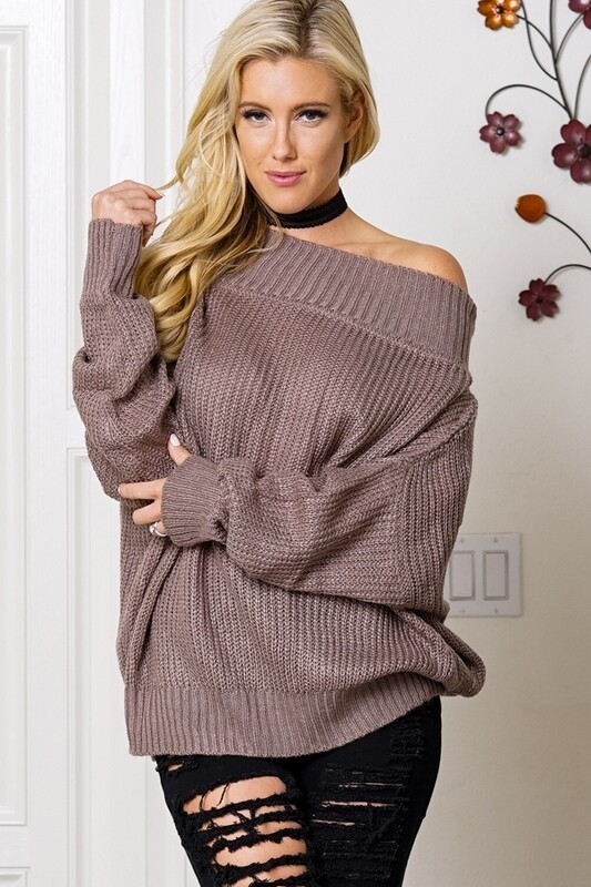 Sweaters  Off-The-Shoulder-Dropped-Sleeve-Sweater