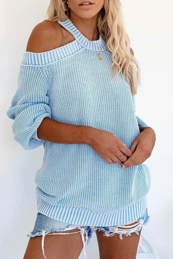 Sweaters |Cut-Out-Shoulder-Sweater
