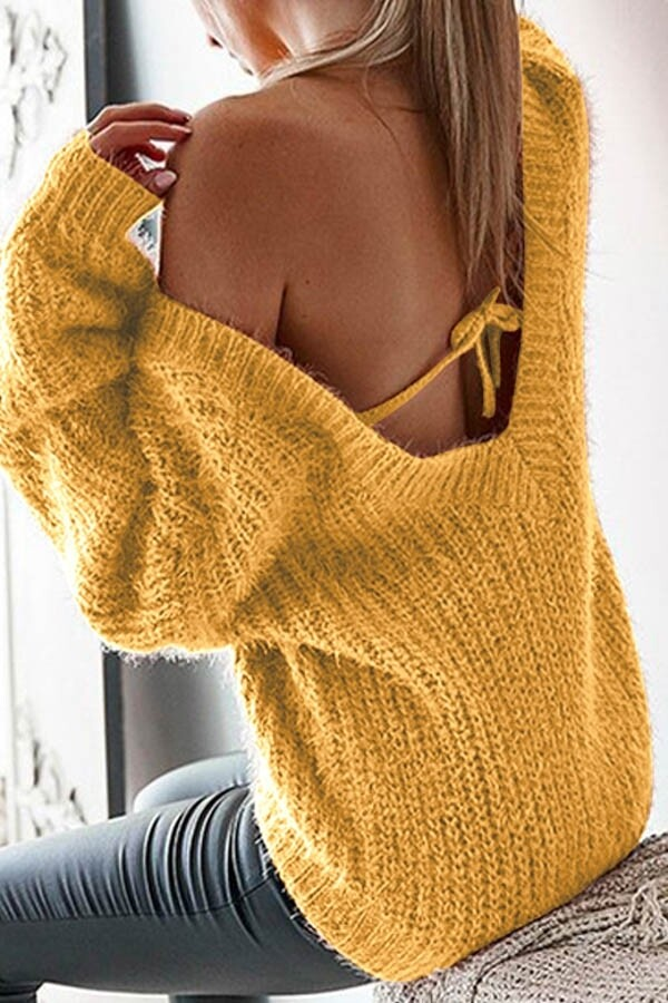 Sweaters |V-Neck-Back-Out-Sweater