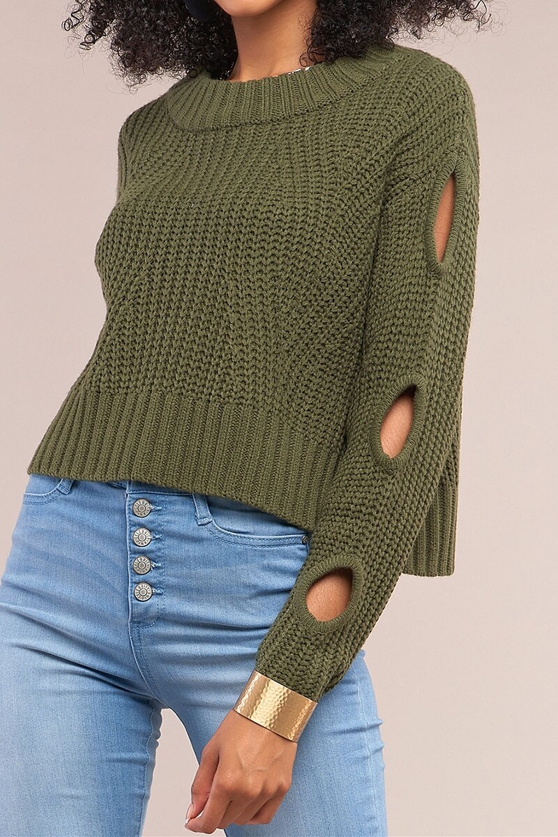 Sweaters |Cable-Knit-Cropped-Sweater