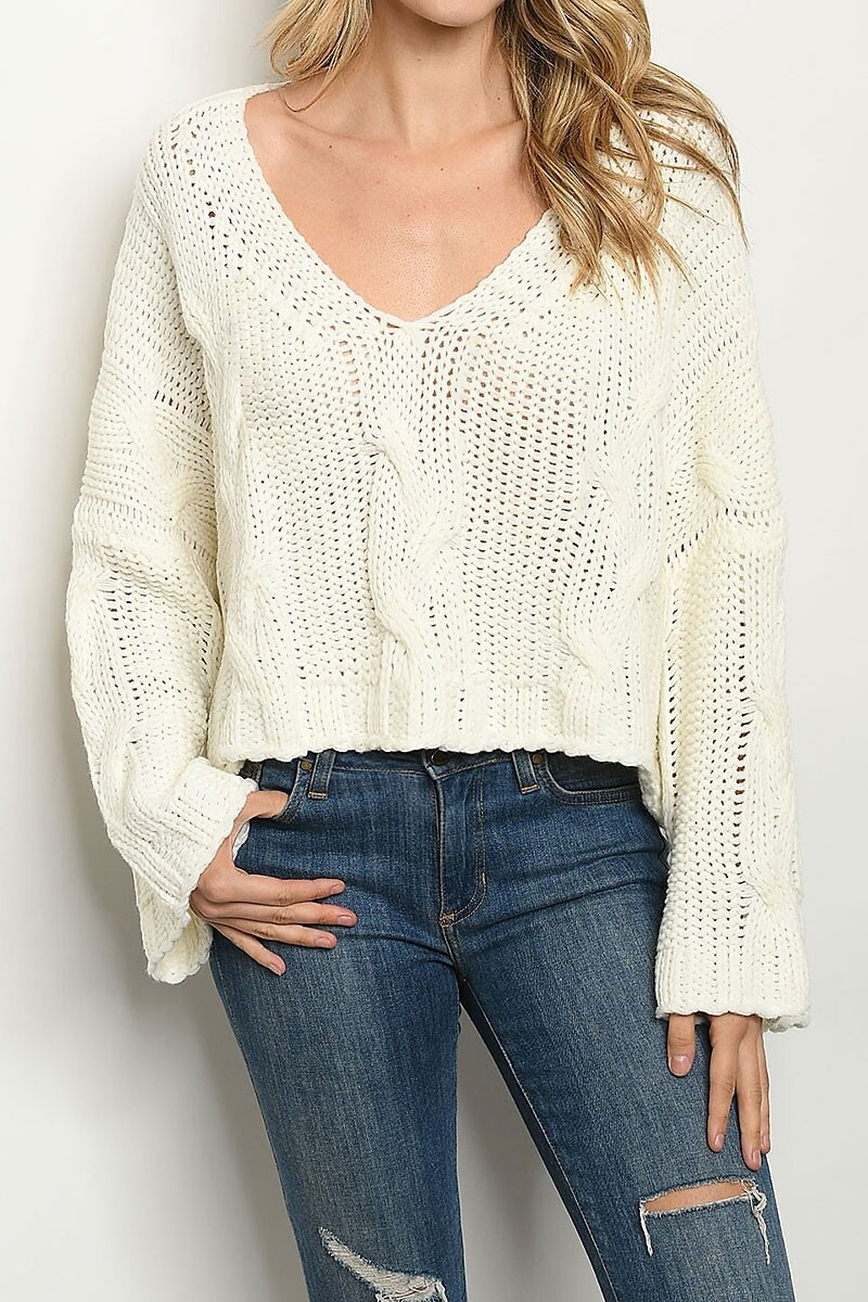 Sweaters |V-Neck-Loose-Fit-Sweater