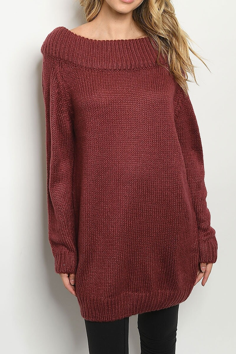 Sweaters |Long-Boat-Neck-Ribbed-Loose-Fit-Sweater