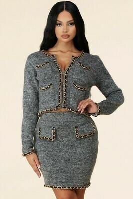 Dress |Sexy-Gold-Chain-Trimmed-Mini-Skirt-Set