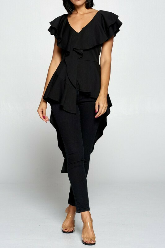 Blouses |Solid-Ruffled-Back-Layer-Top